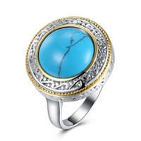 Wholesale wholesale trend ring for sale - 2018 High Trend RoundTurquoise Ring Fashion Ring European and American Rings for Women Vintage Jewelry