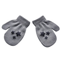 Wholesale knit baby patterns free resale online - Baby Kids Five pointed star Pattern Gloves Boys Girls Winter Warm Knitted Mittens gray