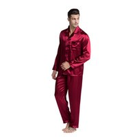 ropa de dormir delgada al por mayor-Pareja pijamas de seda conjunto hombres mancha camisón amantes ropa de dormir delgado Loungewear para damas estilo clásico nuevo