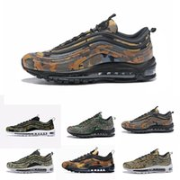 Wholesale country uk - 2018 Hot Sale 97 Country Camo Japan Italy UK Army Green Running Shoes Men 97s Camouflage Ultra Bullet 3M Premium Zoom Trainers Sneakers
