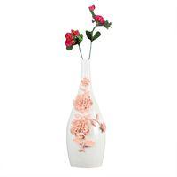 vaso branco simples venda por atacado-Decoração de Casa de cerâmica Abstrata Moderna Simples Flor de Porcelana Decorativa Vaso Tabletop Home Decor Branco Requintado