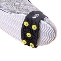 cubiertas de zapatos de hielo al por mayor-5 Espárragos Puntas de hielo para zapatos Cojines flotantes de hielo Crampones Invierno al aire libre Escalada de nieve Puños antideslizantes para cubiertas de zapatos Crampones