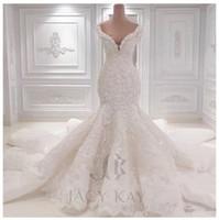 bordado de cristal para vestidos de noiva venda por atacado-Plus Size Vestidos de Casamento Do Laço 2019 Primavera Designer New Crystal Pérolas Bordados Para A Igreja Civil Wedding Party Dresses Vestidos de Noiva