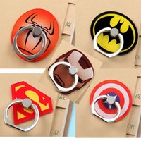 Wholesale batman mobile online - Universal Degree Super Hero Superman Batman Finger Ring Holder Phone Stand For iPhone s Samsung Mobile Phones with Retail box