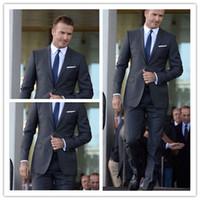 grooms gri smokin toptan satış-David Beckham Gri Üç Parça Düğün Smokin Damat Takım Elbise İşi Groomsmen Smokin