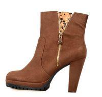 ingrosso tacco piattaforma marrone-Scarpe da donna con tacco alto da donna con tacco medio, scarpe con cerniera da donna