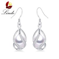 ingrosso alta gabbia-Vendita calda di Lindo 925 orecchini pendenti in argento per le donne Moda gabbia fai da te gioielli di perle d'acqua dolce naturale di alta qualità S18101206