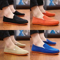 Wholesale pedals straps - Spring and summer old Beijing cloth shoes men's shoes breathable soft bottom flat with lazya pedal casual canvas shoes GD