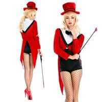 babydoll blanco ver a través al por mayor-2018 Nightclub Bar Sexy Red Magician's Tuxedo Cosplay Disfraz de Halloween Uniforme DS Dance Stage Dress Costume Suit 8635