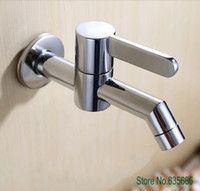 настенные смесители для мойки сосудов оптовых-Wall Mounted Brass Chrome Mop Pool Tap Single Cold Water Kitchen Bathroom Basin Vessel Sink Faucet Sanitary Valve Accessories