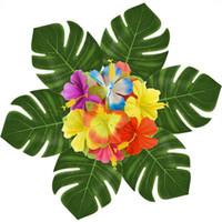 moda para el hogar flor artificial al por mayor-Hawai Artificial Hoja de Tortoiser Flor Beach Theme Decorar Simulación Leavies Party Supplies Portable Home Fashion Decor 14hb jj