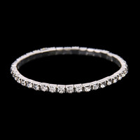 Free Ship Cheap 3 Row Stretch Bangle Silver Rhinestones Cute Prom Homecoming Wedding Party Evening Jewelry Bracelet Bridal Accessories