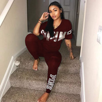 Wholesale V Neck Running Shirts - S-3XL Fashion Letter 2 Piece Set Women Short Sleeve V-Neck PINK Print T-shirt Tops+Patchwork Skinny Pencil Pants Casual Outfit Sets 5 Colors