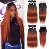 бразильский человеческий волос remy 33 оптовых-Темные каштановые человеческие волосы соткут 3 пачки с закрытием шнурка 4*4 1Б/33 прямыми волосами девственницы омбре бразильскими пре-покрашенными не-Ремы