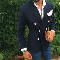 Wholesale Terno Custom Made - Latest Designs Navy Blue Wedding Suits For Men Double Breasted Formal Custom Made Groom Blazer Suit Slim Fit Terno (Only Jacket)