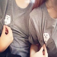 Wholesale hot t shirts for men online - Fashion Casual Short Sleeve White Pocket Cat Design T Shirts For Men And Women Universal Clothes Hot Sale ml BB