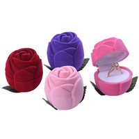 caixas de anel de rosa de veludo venda por atacado-Caixa de Anel de casamento de Veludo Macio Rose Jewelry Case para Ocasião Especial presente do Dia Dos Namorados Embalagem 4 Cores