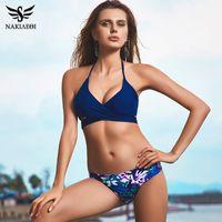 Wholesale Sexy Swim Tops - 2018 Sexy Cross Brazilian Bikinis Women Swimwear Swimsuit Push Up Bikini Set Halter Top Beach Bathing Suits Swim Wear