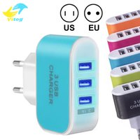Wholesale chinese plug uk adaptor resale online - 3 USB Wall Charger US EU Plug V A LED Adapter Charger Travel Convenient Power Adaptor with triple USB Ports For Mobile Phone