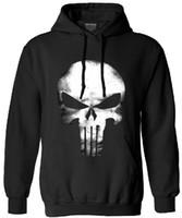 uzun kollu kafatası hoodies toptan satış-Punisher kafatası uzun kollu polar hip hop streetwear hoodies erkekler komik kazak 2017 sonbahar yeni moda hoodie adam elbise Y1890303