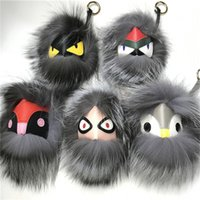 "Wholesale large spikes - 18cm 7"" Silver Series Large soft Real Fur Monster Bag Bug Charm Real fur Pom Ball Charm Keychain toy"
