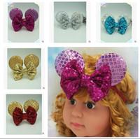 Wholesale Mouse Hairband - Kid Hairband Sequins Mouse Ear Girl Headbands Bownnots Flowers Headband Children Hair Band Elastic Headwear Girl Hair Accessories 6 Colors