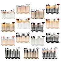 Wholesale Eyes Foundation - 20pcs set Shell Makeup Brushes Set 15 colors Professional Eyeshadow Eeybrow Eyeliner Lip Foundation Powder Concealer Cosmetic Brush Kit
