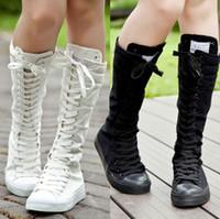 sapatilhas botas botas joelho alto venda por atacado-Botas de Punk das mulheres novas Lace Up Cool Girls EMO Zip Joelho Alta Sapatilha Sapatos