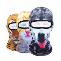 chapéu quente de estimação para o inverno venda por atacado-Liner Animal Halloween Cat Mais Quente 3D Rosto Capacete Do Partido Snowboard Chapéus de Bicicleta de Inverno Máscara de Bicicleta Tigre Balaclava Dog Pet Full