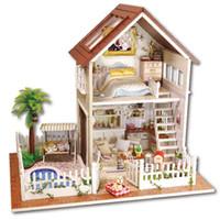 Wholesale Mini House Kits - Romantic Paris Apartment Dollhouse Mini DIY Wooden House Kit with LED Light Handmade Doll House Toys Creative Gifts Toys