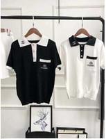 camisola preta de verão venda por atacado-Outono verão Malhas blusas brancas Pretas Mulheres Moda camisa De Malha Harajuku camisola feminina Malha Mulheres Jumper poloshirt femme