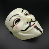 Wholesale valentines masked ball online - Mens V Mask Halloween Mask Masquerade Masks For Vendetta Anonymous Valentine Ball Party Full Face Super Scary Guy Fawkes Stage Mask HM33