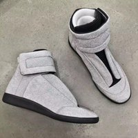 Wholesale White Bootie - 2018 new wholesale French designer brand New High Top Bootie Leather Walk sneakers Men Fashion Casual Shoes Men Flats MMM handmade shoes