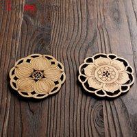 hölzerne bierdeckel großhandel-BalleenShiny Seerose Lotus Getränk Untersetzer Matte Holz Runde Coaster Tischset Tischset Küchenzubehör Dekoration