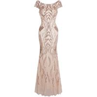 Wholesale scoop back sequin dress - Angel-fashions Women's Bateau Cap Sleeve Floral Sequin Sheath V Back Evening Dress Evening Party Gown 378