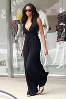 8ef054ab2a3 backless halter casual maxi dress Canada - Halter Dress Women Sexy V Neck  Long Maxi Summer