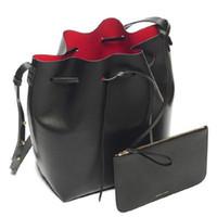 ведра для девочек оптовых-Роскошная дизайнерская сумка-ведро для женщин Кожаный широкий цветной ремешок Сумка через плечо Сумка большой емкости Сумка через плечо для девочек на шнуровке