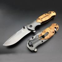 ahşap saplı av bıçakları toptan satış-Browning X50 katlanır bıçak titanyum çelik bıçak + ahşap kolu açık kamp avcılık taktik bıçak survival EDC araçları