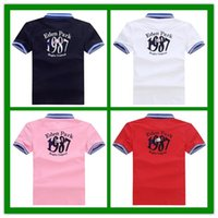Wholesale french letters - NEW 2018 Eden Park Lapel polos shirts #1987 French leisure brand MEN'S FASHION SUMMER short sleeve T-Shirt sports tops business casual Tees