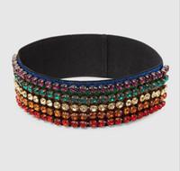 Wholesale Fashion Elastic Hair Bands - 2018 Luxury Designer Multicolored Crystal G Elastic band headbands for womenTurban Fashion Hair Accessories