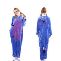 yetişkin dinozor pijama toptan satış-Pijama Peluş Yetişkin Panda Karikatür Siyam Pijama Flanel Dinozor Sevimli Erkekler ve Kadınlar Çiftler Tuvalet Ev Pijama