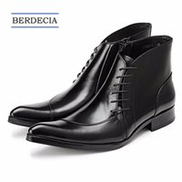 Wholesale cowboy boots wedding dress for sale - Group buy 2018 Designer Luxury Genuine Leather Cowboy Men Boots Lace Up Ankle Boots Fashion Wedding Party Men Dress Shoes Business Oxfords Shoes