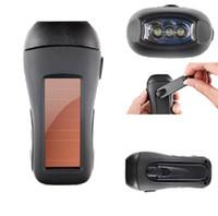 multi levou usb lanterna venda por atacado-Multi-função poderosa 3 lanterna LED solar geração de energia da mão lanternas led com linha USB para camping suprimentos