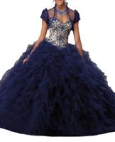 chaqueta de organza azul al por mayor-Vestidos de Quinceañera Chaqueta sexy con escote en V, falda color champán, hilo azul Ogan, borde de hoja de loto, cuello en forma de corazón, correa trasera, chaleco