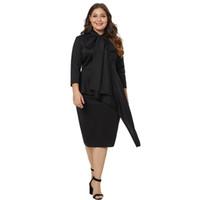 fetter bogen großhandel-2018 Herbst große Größe Fat Women Dress schwarzes langes Kleid Fliege Stehkragen sieben Punkte Ärmel Plus Size XL Partykleid Evenning Dresses