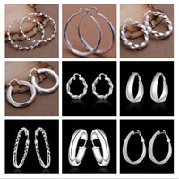 Wholesale order sterling silver for sale - Group buy Mixed Orders Top quality sterling silver plated hoop earrings classic large Ear hoops fashion jewelry pair