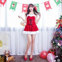 seksi yetişkin yılbaşı kostümü toptan satış-M-XL 2018 Yeni Kadın Noel Elbise Seksi Kırmızı Kadife Yetişkinler için Noel Kostümleri Noel Baba Üniforma Noel Kostüm
