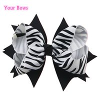Wholesale Stripe Ribbon Hair Bows - Your Bows 1PCS 5 Inches Girls Hair Bows Classic Zebra Stripes Ribbon Hairpins Hand Made Children Hair Accessories