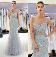 tüyler gece elbisesi gerçek toptan satış-Gri Tül Mermaid Uzun Gelinlik Modelleri Sheer Ekip Boyun Büyük Boncuklu Kristaller Tüy Örgün Parti Abiye 100% Gerçek Görüntü CPS1177