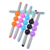 массаж мышц палки оптовых-20.47inch Gym Muscle Massage Roller Yoga Stick Relax Tool Muscle Roller Sticks with Point Spiky Ball Body Massage